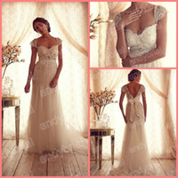 Wholesale 2014 Top Glamorous Sweetheart A Line Wedding Dresses Cap Sleeve Wedding Gown Court Train Sexy Backless Wedding Gown Customer Made
