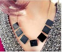 american trading sweater - Foreign trade fashion retro sweater chain necklace geometric shape blocks