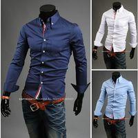 Wholesale Mens Slim fit Unique neckline stylish Dress long Sleeve Shirts Mens dress shirts colors size M XXXL