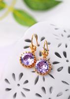 Stud 14k gold earrings - Fashionable bright Austrian crystal k gold earrings small crown female models