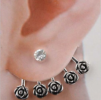 Wholesale High Quality Rose Ear Cuff Stud Earring Crystal Silver Banquet Wedding Jewelry Lady Flower Earrings