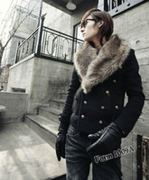 Wholesale Fall winter fashion Personality Short Slim fit coat Men s Double breasted Large Fur collar Removable Wool tweed jacket