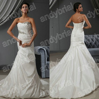 2015 Graceful Strapless Mermaid Wedding Dresses Beading Wedd...