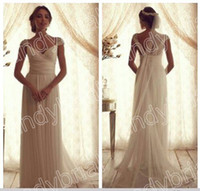 2014 Vintage Cap Sleeve Wedding Dresses Court Train Chiffon ...
