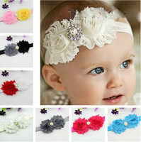 Lace children fabric - Shabby Flowers Baby Headbands Chiffon Fabric Flower Pearls Rhinestones Button Colors Children Hair Accessories