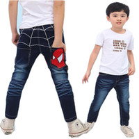 Wholesale Kids Spider Jeans New Original Single Cartoon Style Fshion Casual Cowboy Pants Designer Jeans Boys