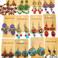 Wholesale Mixed Style Euro amp America Style Women Vintage Big Earrings Crystal Gem Exaggerated Earring Free Ship