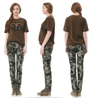 Wholesale New Women s clothing Fashion Outdoor Skinny Leisure Camo Military trousers Hip Foot pants