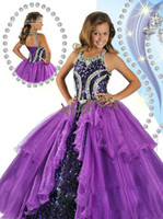 Wholesale 2014 New Halter purple Girl s Pageant Dresses Beads Sequin Ball Gown Shining Girl Dresses All custom size RG