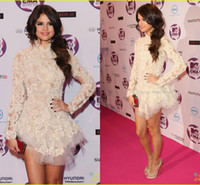 Wholesale Amazing Selena Gomez Prom Celebrity Dresses A Line Long Sleeve High Neck Short Mini Ivory Appliques Evening Gown Dress
