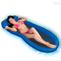 Wholesale Mesh Lounge Swimming Pool Floating Inflatable Float Chair BLUE