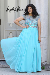 Wholesale 2014 Angela Plus size Prom Dresses Hot sale Bateau Empire Full length chiffon beads Crystal Pageant dresses