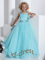 Wholesale 2013 NewSky Blue Tulle Straight Strapless A Line custom Princess Girl s Pageant Dresses All custom size RG
