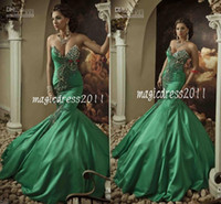 Wholesale Amazing Sexy Prom Gowns Dresses Sheer Backless Mermaid Sweetheart Green Satin Appliques Beads Evening Formal Dress