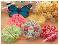 Wholesale 18pcs shabby chic Fold Over flowers Chiffon Flowers with Snow Diamond hair baby hair accessories flower hair headwear