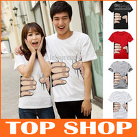 Wholesale Funny Mens Womens T Shirts Short Sleeve S XL Hand Grasp Round Neck Cotton Blend Couples d Printed T shirt Designer Color