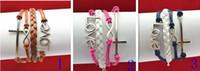 achat en gros de bracelet infini jette l'ancre-One Direction Anchor Infinity antique Croix Amour immitation cuir Charm Bracelet Bracelets SET