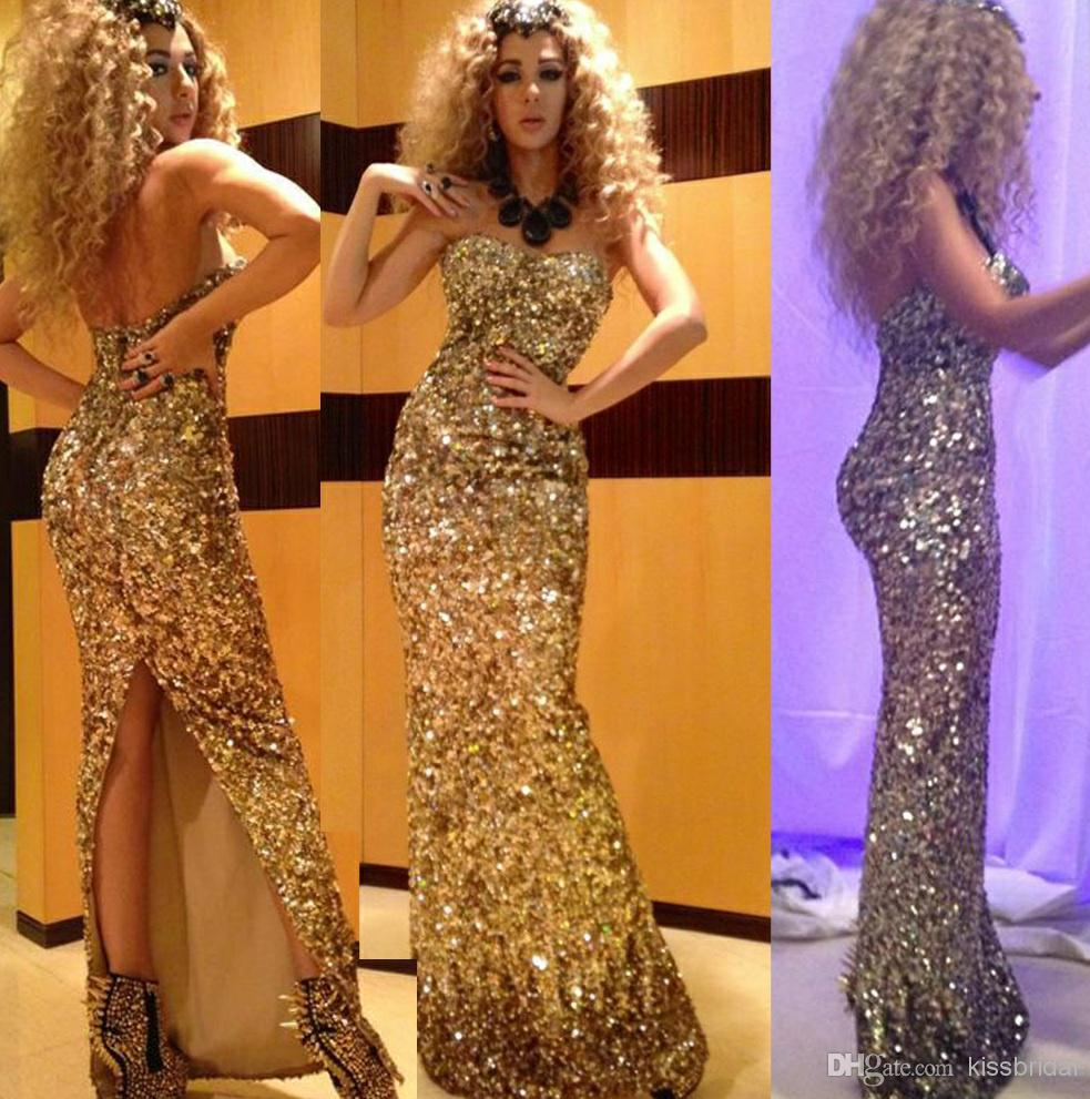 2014 Myriam Fares Prom Dresses Golden Sweetheart Sleeveless Back ...