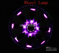 Wholesale 5sets Solar Energy Super Cool LED Car Wheel Light LEDS colors DC12V Waterproof universal Motorcycle Wheels Silicone Lamp