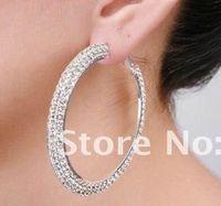 Hoop & Huggie wholesale basketball wives earrings - CZ Basketball wives Hoop Earrings Silver Polish double Row mm crystals Pairs J