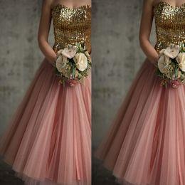 Vintage Gold Sequins Bridesmaid Dresses A Line Tea Length Blush Pink Tulle Cocktail Length Short Bridesmaid Gowns