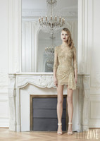 Reference Images Crew Tulle Zuhair Murad 2014 Gold Crew Neckline with Half Sleeves Mini Party Dress Sequins Applique Sexy Short Cocktail Dresses Gowns Free Shipping