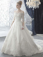 Wholesale 2014 Glamorous NEW Elegant Cap Sleeves Sleeves A line Wedding Dresses With Lace Train and Big Bow GL00066