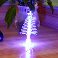 Indoor Christmas Decoration fiber optic tree - Newest USB Colors Fiber Optic Tree Desktop Flashlight Christmas Xmas Tree with Top Star DHL