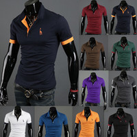 Men Short Sleeve Polyester Cotton Free shipping Wholesale - -2014 fashion mens fawn embroidery Short sleeve Cultivate one's morality polo T shirts #qjq485