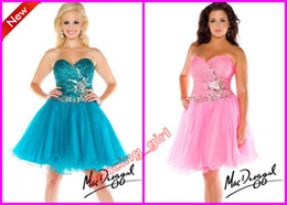 Wholesale 2014 New Designer Pink Sweetheart A line Beaded Crystal Mini Short Gowns Formal Dress Mac Duggal Fabulouss Plus Size Prom Dresses F