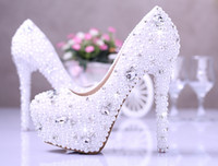 Wholesale Crystal Beaded Jeweled Shoes - 2015 Newest Beaded crystal pearls 5inch high heel Pumps lady's shoes Jeweled Women Bridal Evening Wedding Bridesmaid shoe