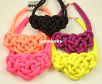 Wholesale exaggerated influx of fluorescent color coarse woven rope necklace hot sale candy color fluorescence color choker