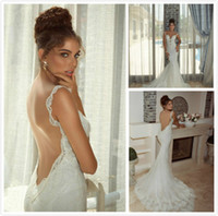 Cheap Galia Lahav Hot New Sexy Beaded Backless Mermaid Bridal Gown Applique V Neck White ivory lace Chaple Train Wedding Dresses