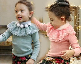 Wholesale Baby girls Bottoming Lace flower Thickening tops bottoming kids velvet plus jumpers shirt clothing