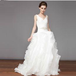 Wholesale custom made sexy V neck organza beautiful wedding dress Free Gloves Free Veil buy get dh2621648