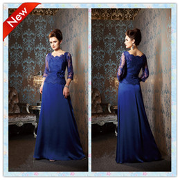 Royal Blue Scoop With 3 4 Sheer Lace Sleeves Jacket Mother Of The Bride Dresses Plus size Lace Applique Formal Evening Dresses Dress