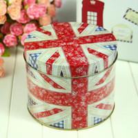 Wholesale British style flag tin storage box storage tank tea caddy candy jar snack cans