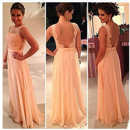 2014 Stunning Orange Chiffon Prom Dresses Tulle and Lace Appliqued Bateau Neck Backless A-Line Floor-Length Evening Gowns