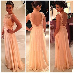 2014 Sexy New Orange Chiffon Sleeveless Floor Length Prom Dresses Tulle Lace Applique Backless Floor Length Evening Gowns BO3396