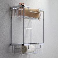 Wholesale Copper thickening double layer basket shelf corner bracket