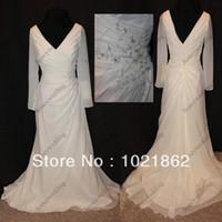 Wholesale Custom Made NWT Ivory chiffon long sleeved informal bridal gown Jasmine wedding dresses AL0230