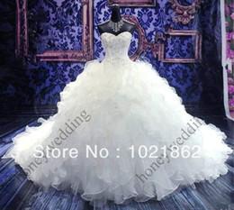 New white ivory A-Line Organza Beading Wedding Dress Custom Made AL0229
