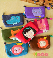 Wholesale Lovely Girls Cartoon Animals Fleece Coins Purse Kids Gifts Adorable Mini Bags Velvet Animal Card Phone Coin Convenience Bag Wallet D1238