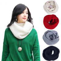 Wholesale S5Q Unisex Women Winter Warm Infinity Circle Cable Knit Cowl Neck Long Scarf Shawl AAACLD
