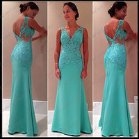 2014 V- Neck Hunter Lace Appliques Sheath Evening Formal Dres...