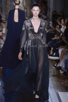 Cheap Hot Selling Sexy Evening Dresses Dark Navy Long Sleeves V Neck Chiffon Embroidery See Through Party Celebrity Gowns by Valentino 2014