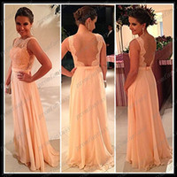 Peach Chiffon Evening Gowns 2014 Gorgeous Sheer Crew Neck Ba...