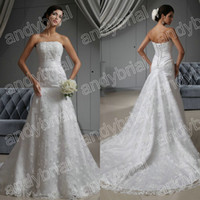 2014 Perfect Strapless Empire Wedding Dresses Monarch Train ...