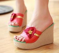Wholesale NEW high heel wedge sandals platform fashion women dress sexy slippers shoes pumps P5334 Hot sale EUR size Aoaoi