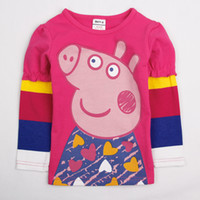 Girl Spring / Autumn Standard new arrival 18m-6y baby girls T-shirts cartoon Peppa pig printing tops cute baby girl clothes cotton long sleeve autumn tees
